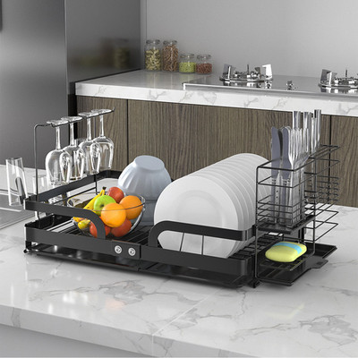Dish Drying Rack, Foldable Large Dish Rack with Steel Dish Drainer - Black