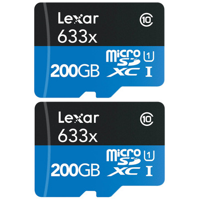 Refurbished 2-Pack Lexar High-Performance microSDXC 633x 200GB Class 10 UHS-I Memory Card