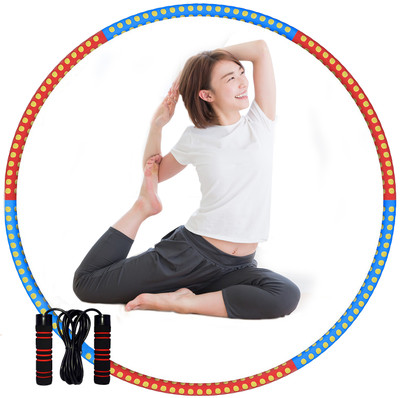 Fitness Hula Hoop with Jump Rope Exercise Detachable Hoop Removable Six-Section