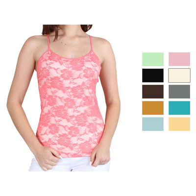 Women's Adjustable Camisole Seamless Lace Tank Top Stretch Nylon - One Size Fits Most - PARENT