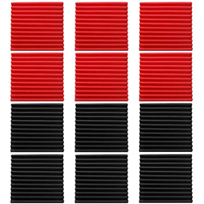 Acoustic Foam Panels Wedge Tiles For Studio etc Set of 12 - Black or Black-Red