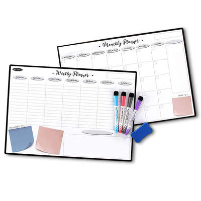 Magnetic Dry Erase 2 Boards Monthly-Weekly-4 Fine Point Markers  Eraser Included
