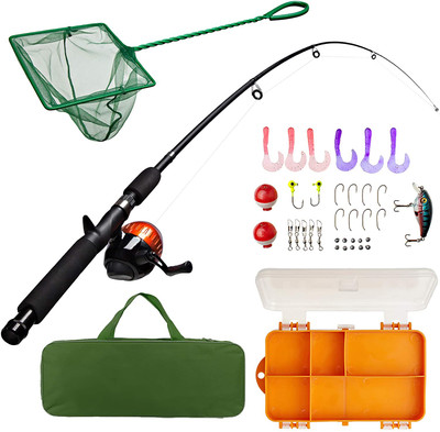 "Kids Fishing Pole And Tackle Box Fishing Kit 17"" Telescoping Fishing Rod 32 Pcs Green Or Pink"