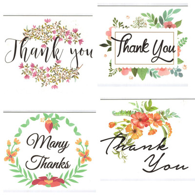 Blank Thank You Notes Floral Water Colors 100 Pack 4x6 Inches
