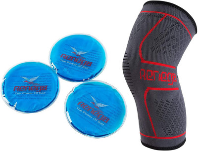 Recovery Kit Knee Brace Support Sleeve with 3 Round Reusable Gel Hot or Cold pk