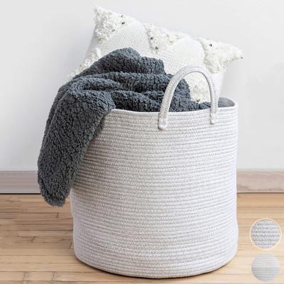 "Premium Woven Rope Storage Basket Large Blanket Basket for Living Room Bin Laundry Cotton 22""x16"""