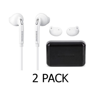 2 Pack Samsung OEM Wired 3.55mm Headset with Volume Control - Black Case