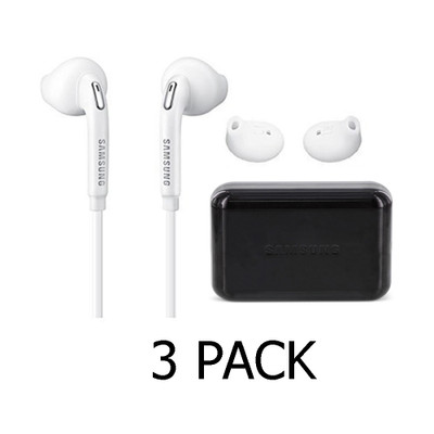 3 Pack Samsung OEM Wired 3.55mm Headset with Volume Control - Black Case