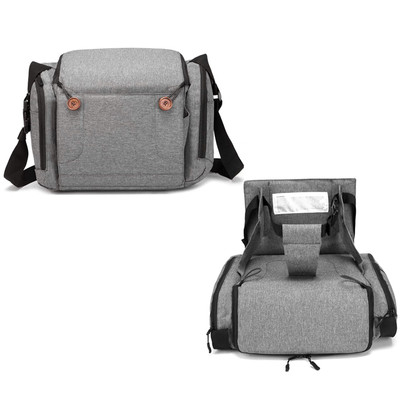 Portable 2-in-1 Travel Infant and Toddler Diaper Bag with Booster Seat for Dining Table, Planes, Fits Most Standard Size Chairs - Grey