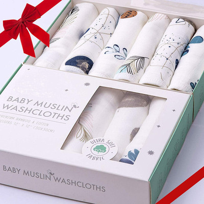 """Baby Organic Muslin Bamboo Soft Washcloths for Sensitive Skin Burp Cloths or Face Towels Pack of 6 - 12""""x12"""""""