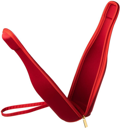 Insulated Wine Champagne Bottle Case Gift Bag Portable Cooler Bag for Travel, Picnic, Party - Red