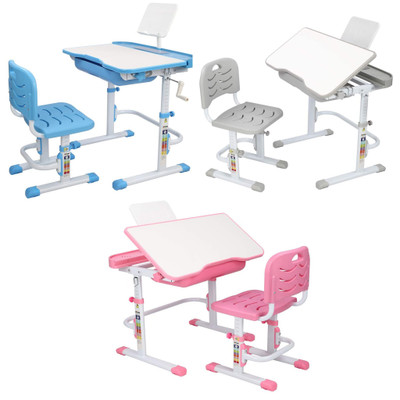 Ergonomic Kids Desk and Chair Set Adjustable Height Stand Multifunctional Study Table Workstation for School Students with Reading Board and Storage Drawer