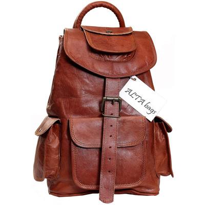 Leather Backpack for Women Handmade Drawstring Daypack Bag for Girls 14 inch