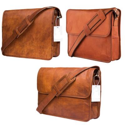 Leather Messenger Bag for Men Laptop Shoulder Satchel University Bag Crossbody College Briefcase 15 inch