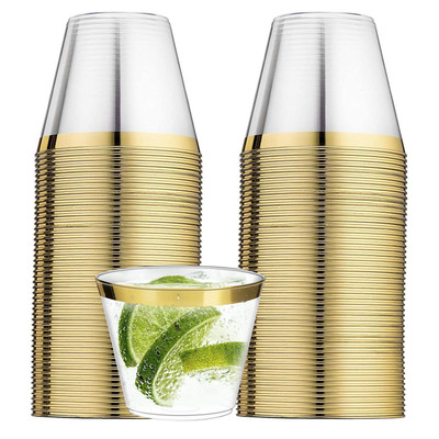 100 Clear Plastic Cups with Gold Rim for Wedding Elegant Party Cups 9 Oz