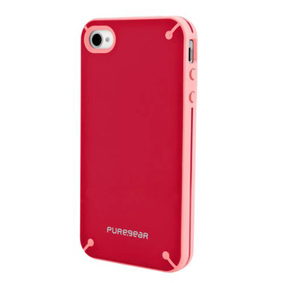 PureGear Slim Shell Protective Cell Phone Case - Red/Pink- iPhone 4/4S