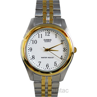 Casio MTP-1129G-7B Men's Two-Tone Analog Dress Watch w/ White Numbered Dial
