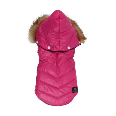 American Kennel Club Dogs Quilted Puff Coat Jacket with Faux Fur Hood