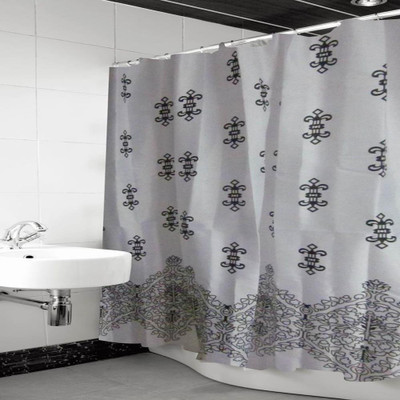 "Pztex 72"" x 72"" Shower Deluxe Curtain w/ Matching Hooks - Black White Freestyle"