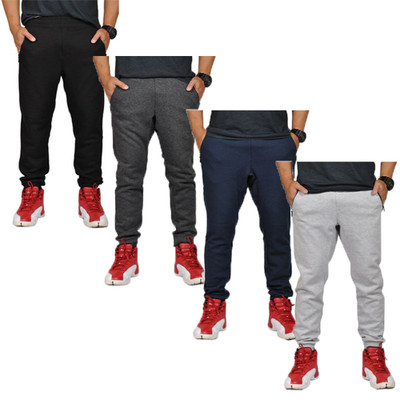 Alta Fashion Mens Plain Slim Casual Running Sweatpants Joggers with 3 Zippered Pockets