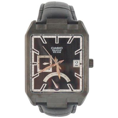 Casio Men's BEM-309BL-1AV Analog Dress Black Leather Date Watch