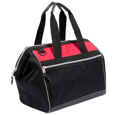 Over Shoulder Padded Tote Gym and Laptop Style Travel Bag - Red / Black