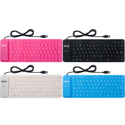 iHome Flexible Portable Travel USB Enabled Keyboard for Windows and Mac