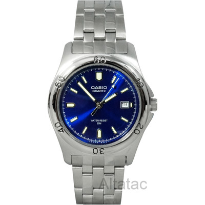 Casio MTP-1213A-2A Men's Stainless Steel Analog Dress Watch w/ Blue Display