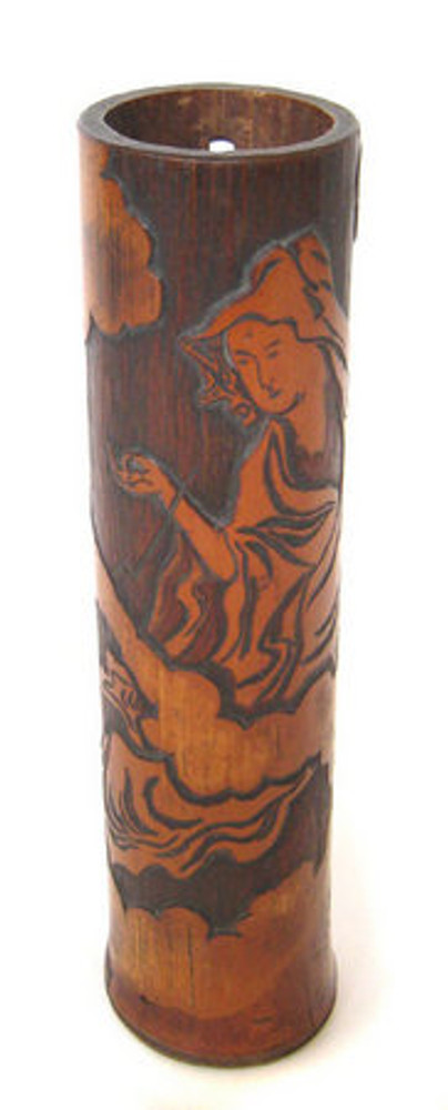 Japanese Carved Bamboo Flower Container #877779 FREE SHIPPING