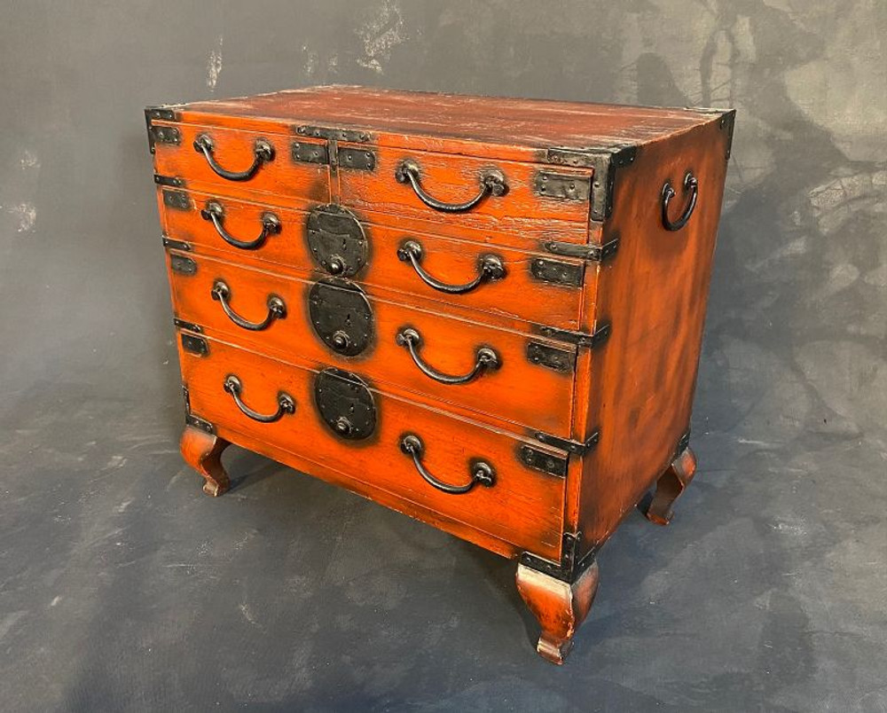 SOLD Antique Japanese Ko Tansu (Personal Storage Chest) Negoro Early Meiji #1437660