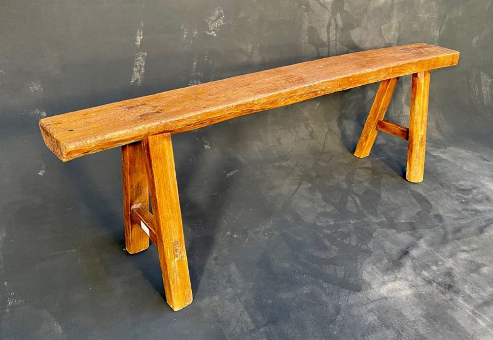 Antique Chinese Solid Elm Skinny Bench 19th Century #1437143