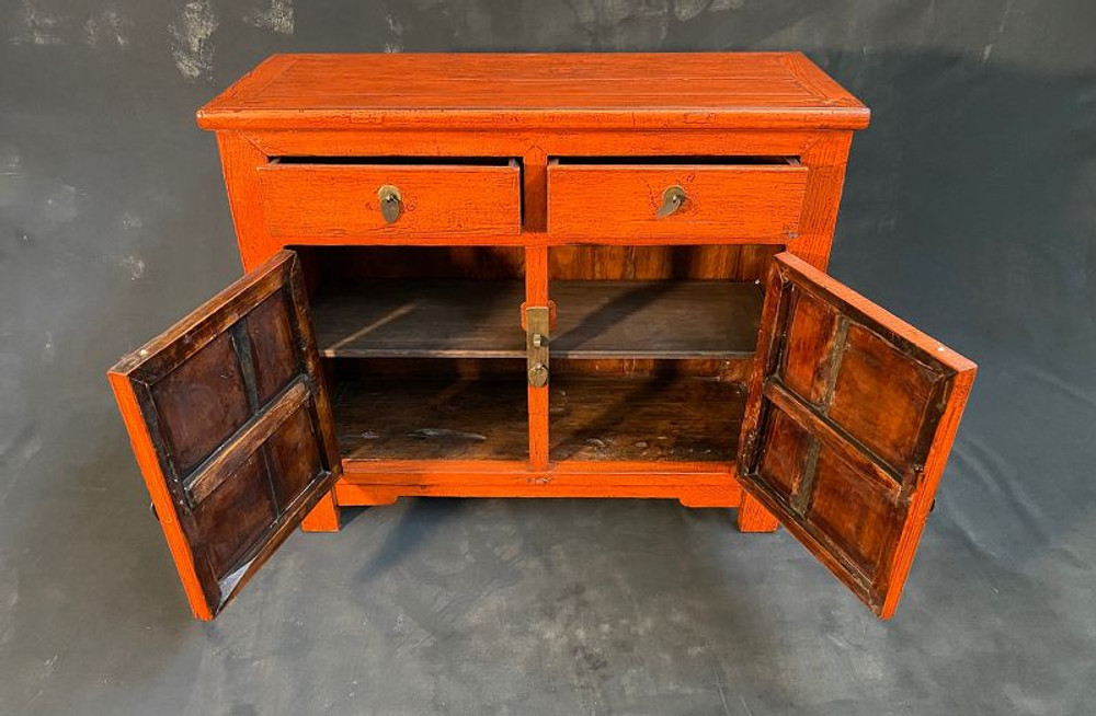 SOLD Antique Chinese Orange Lacquer Beijing Chest 19th C 2 Drawer 2 Doors #1436795