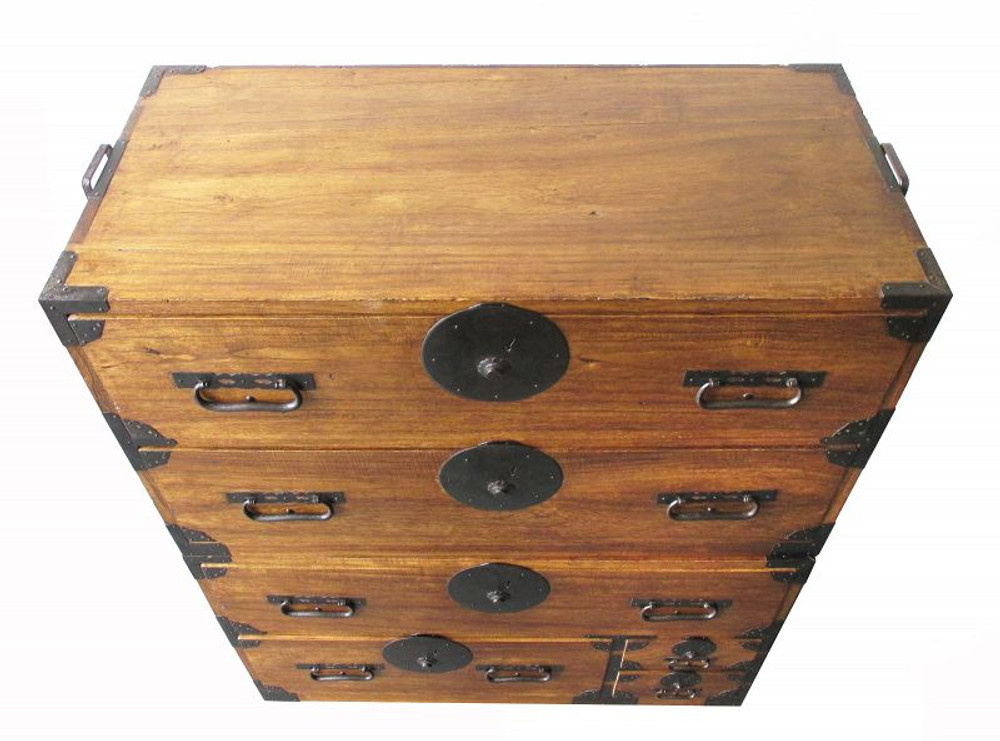 SOLD Japanese Antique Two-Section Isho Tansu with Round Locks #1436457