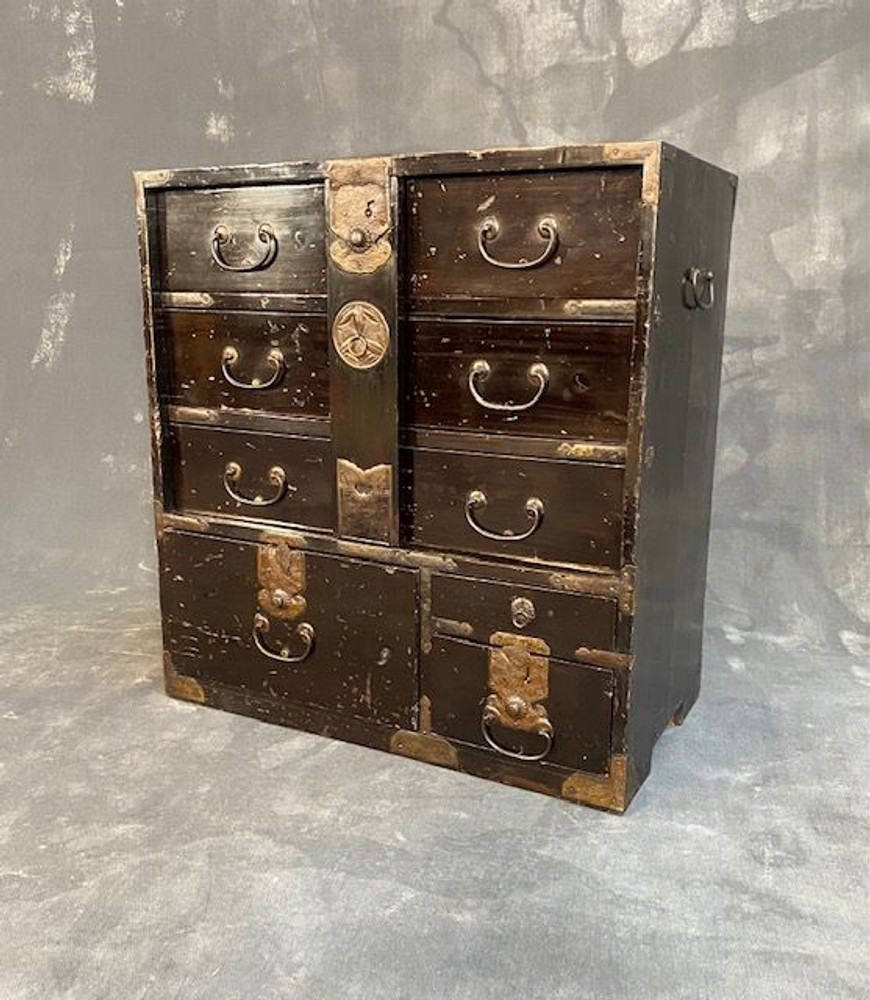 Antique Japan Ko Bo Tansu (Personal Chest with Lock Bar) Lacquer Meiji #1444413