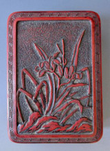 Japanese Antique Small Cinnabar Lacquer Box with Lilies #1431073