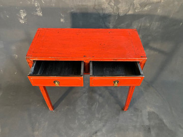 Antique Chinese Side Table with Two Drawers 19th C Hardwood #1436793