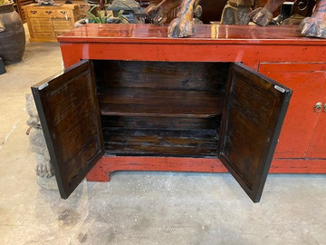 Contemporary Chinese Buffet Chest Red Lacquer Up Cycled Wood #1446981