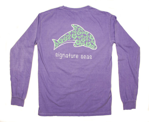 Pocketed Violet Dolphin Hibiscus Flower Long Sleeve