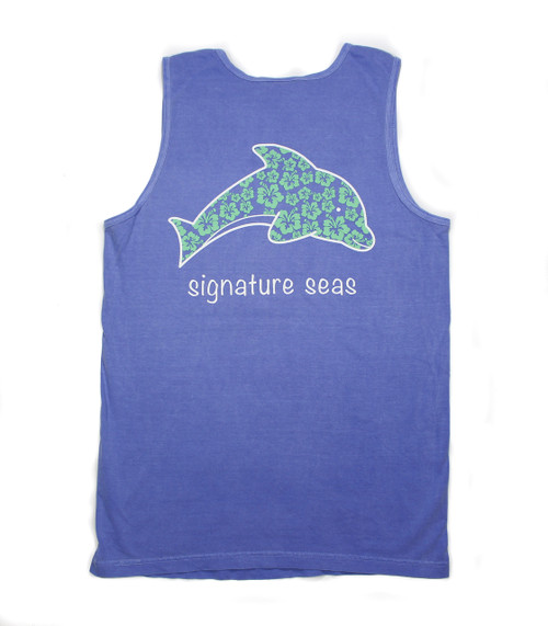Atlantic Blue Dolphin Hibiscus Flowers Tank Top