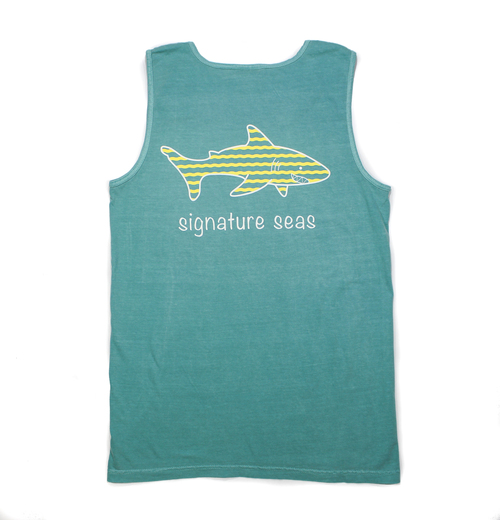 Seafoam Shark Waves Tank Top