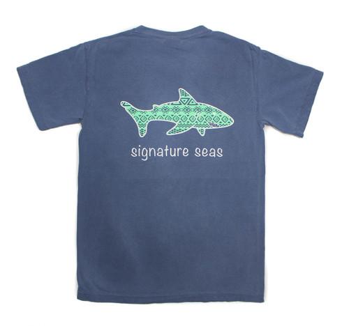 Pocketed Deep Blue Shark Aztec Short Sleeve