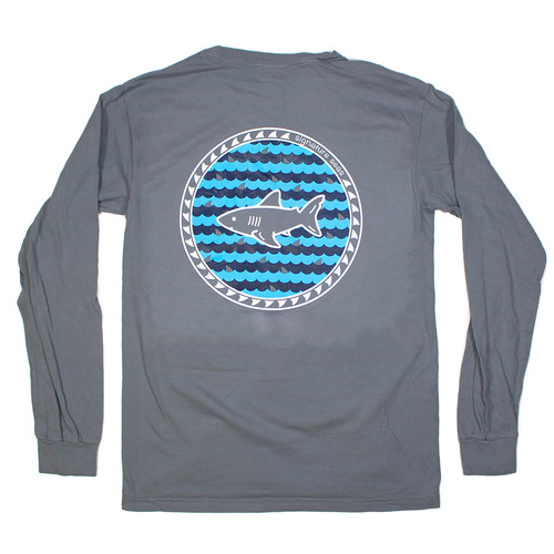 Pocketed Gray Waves and Fins Long Sleeve