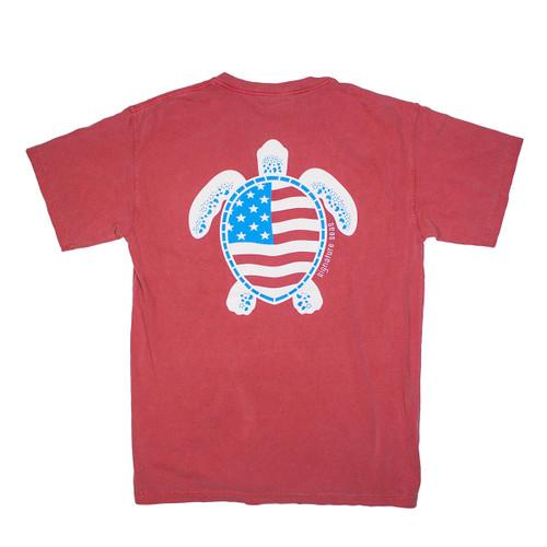 Pocketed Patriotic Turtle Short Sleeve