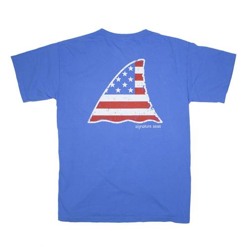 Pocketed Patriotic Shark Fin Short Sleeve