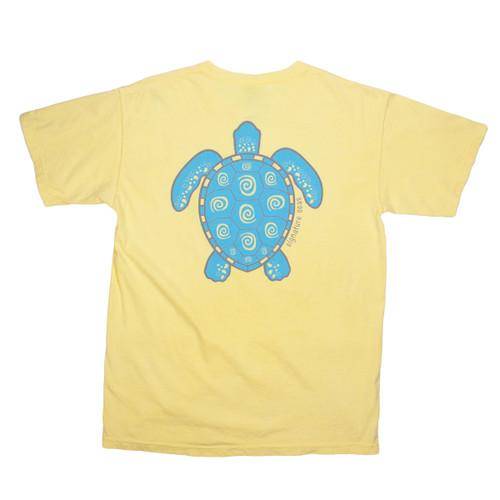 Pocketed Yellow Turtle Swirl Short Sleeve