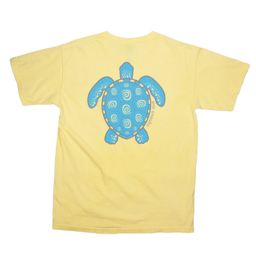 Pocketed Yellow Turtle Swirl Short Sleeve