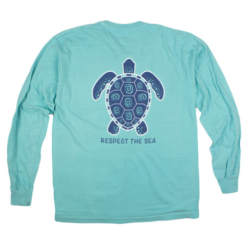 Pocketed Mint Turtle Swirl Long Sleeve