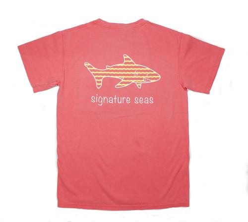 Pocketed Watermelon Shark Waves Short Sleeve