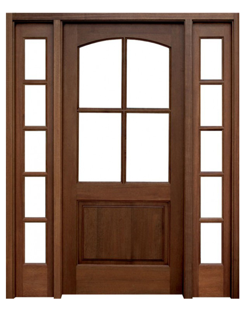 Mahogany Brentwood Single Wood Entry Door With 2 Sidelights By Door Stores Of America Shop Doors And Home Hardware