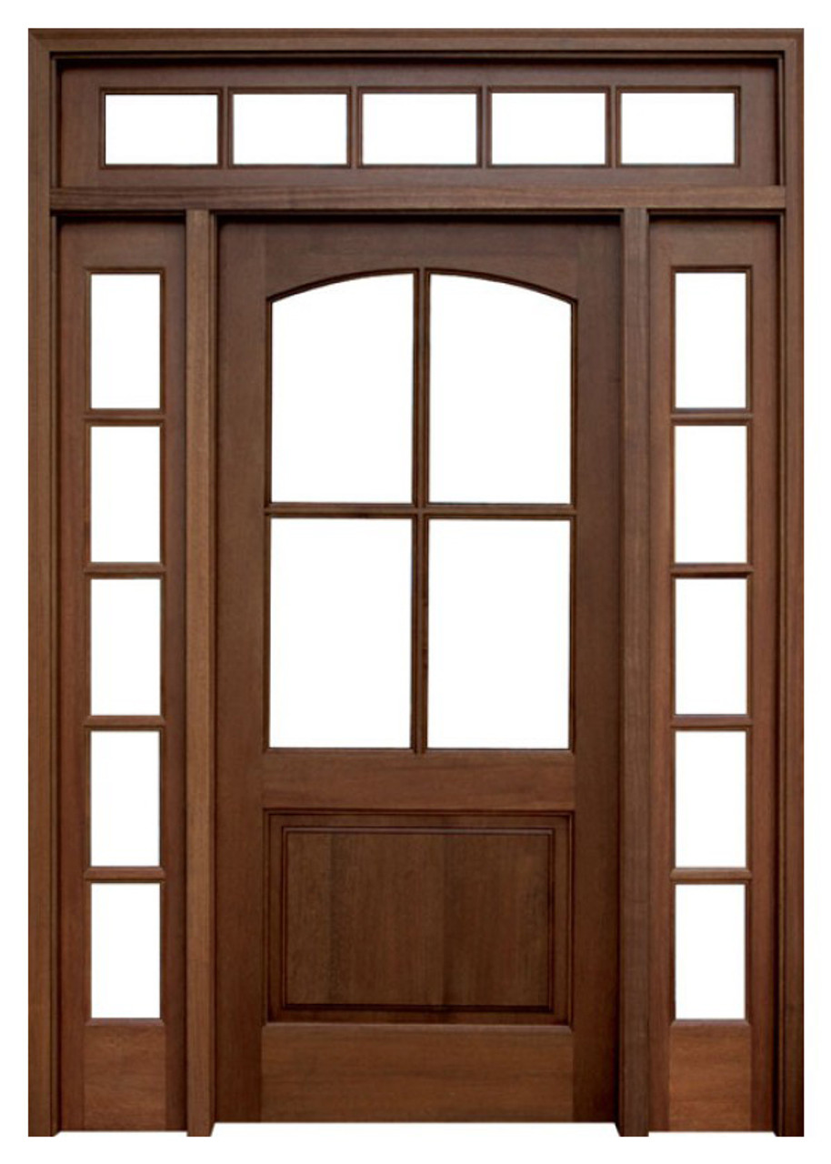 Mahogany Brentwood Single Wood Entry Door With 2 Sidelights And Transom By Door Stores Of America Shop Doors And Home Hardware